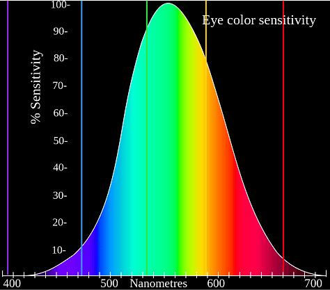 wykres spektrum światła widzialnego przez człowieka